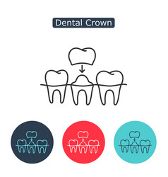 dental crown tooth treatment sign vector image vector image