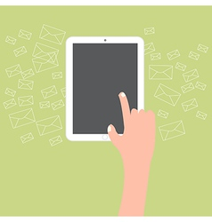Finger touch tablet with email icon background vector image