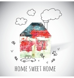 Home doodles and shadow vector image vector image