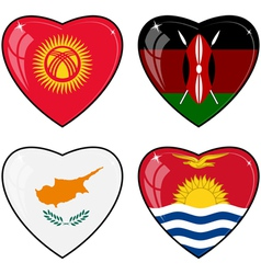 Set of images of hearts with the flags of Kenya vector image vector image