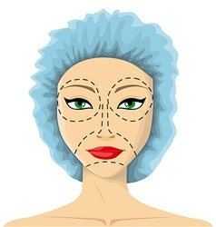 Woman is preparing to plastic surgery vector image