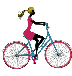 woman on bike vector image vector image