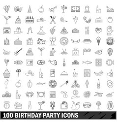 100 birthday party icons set outline style vector image vector image