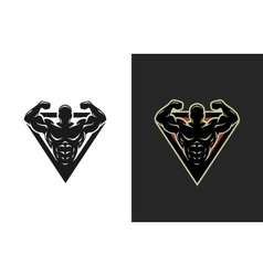 Bodybuilding logo two options vector image