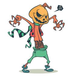 cartoon pumpkin head scarecrow vector image