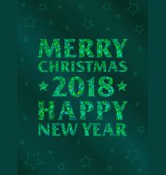 vertical green mosaic inscription 2018 vector image