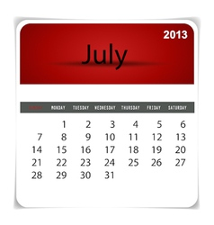 2013 calendar July vector image