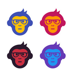 Ape monkey with glasses vector