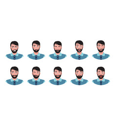 attractive boy with beard showing different facial vector image