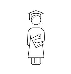 Bachelor in graduation cap line icon vector
