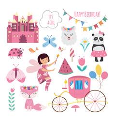 baprincess fairytale birthday set - cartoon vector image