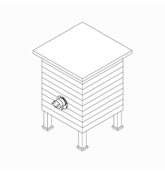 Beehive with bee icon isometric 3d style vector image