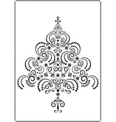 Black openwork Christmas tree vector