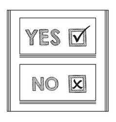 Black striped yes and no words check mark and box vector