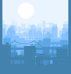 Blue city buildings view vector