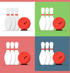 Bowling ball and skittles set isolated on a vector