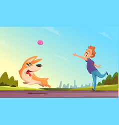 boy playing with his pet in urban park dog vector image