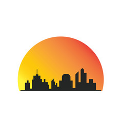 building silhoute sunsite logo vector image