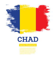 chad flag with brush strokes independence day vector image