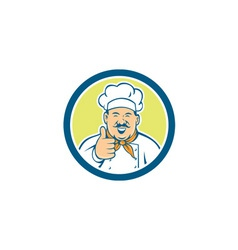 Chef Cook Happy Thumbs Up Circle Retro vector
