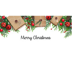Christmas background with fir branches and red bal vector