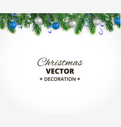 christmas background with fir tree garland vector image