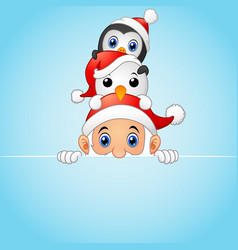christmas card snowman penguin and santa vector image