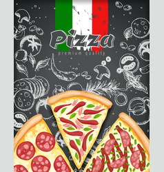 Color pizza poster savoury pizza ads with 3d vector