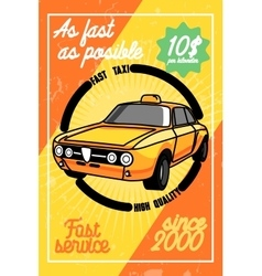 Color vintage taxi poster vector