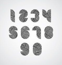 Contemporary style numbers with hand drawn lines vector