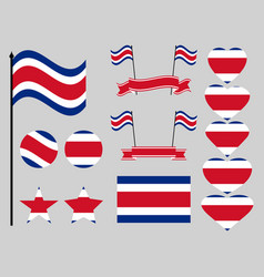 Costa rica flag set symbols flag in heart vector
