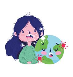 Covid19 19 coronavirus pandemic sick girl cough vector