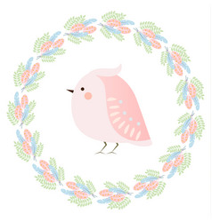 cute kawaii spring bird and feathers wreath vector image