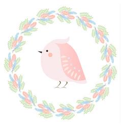 Cute kawaii spring bird and feathers wreath vector