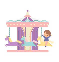 Cute little boy riding at carousel with horses or vector