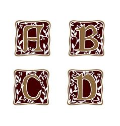 Decoration letter a b c d logo design concept vector