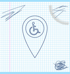 disabled handicap in map pointer line sketch icon vector image