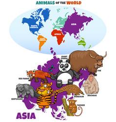 educational cartoon asian animals vector image