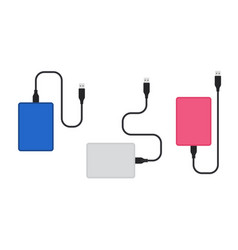 External hard disk drive with usb cable color set vector