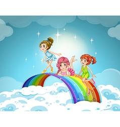Fairies flying over the rainbow vector