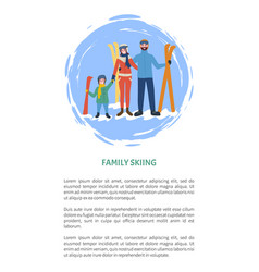 family skiing people with equipment winter season vector image