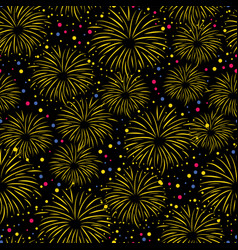 firework seamless pattern isolated on black vector image