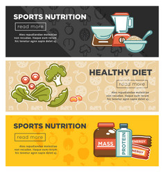 fitness food and sports healthy diet nutrition vector image