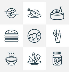 Food icons line style set with juice donut vector
