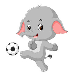 funny elephant playing football cartoon vector image