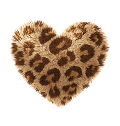Fur heart isolated on white background vector