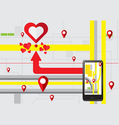 gps navigate find to love heart vector image