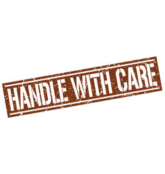 Handle with care square grunge stamp vector