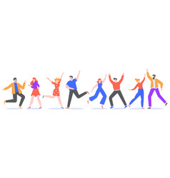 happy dancing people exciting modern characters vector image