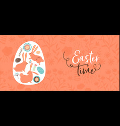 happy easter hand drawn rabbit and egg banner vector image